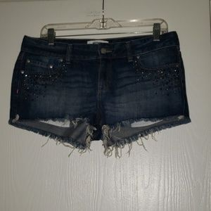 Victorias Secret Pink Denim Jean Shorts Rhinestone